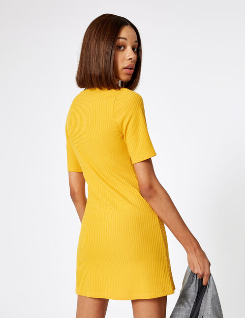 Ochre ribbed buttoned dress