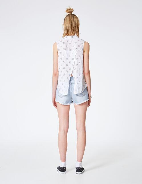 White rabbit print shirt