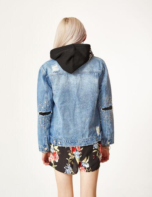 veste en jean avec clous medium blue