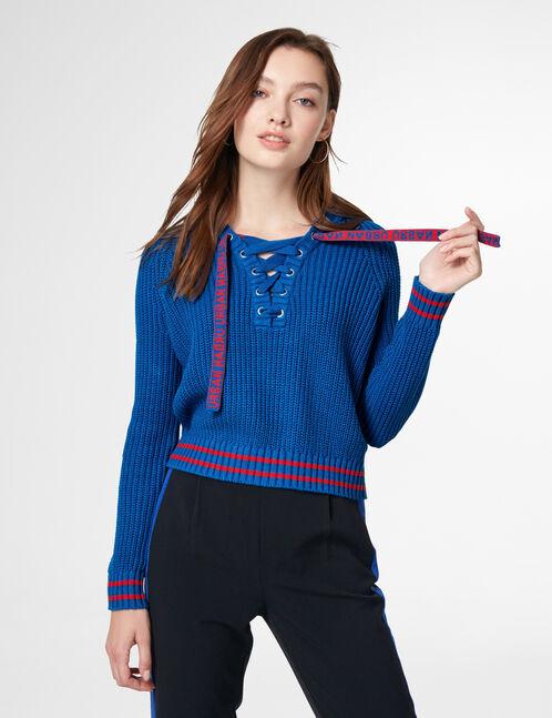 pull à capuche avec laçage bleu