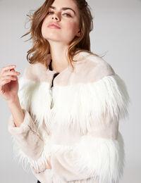 Jennyfer veste bi-matière beige et écru