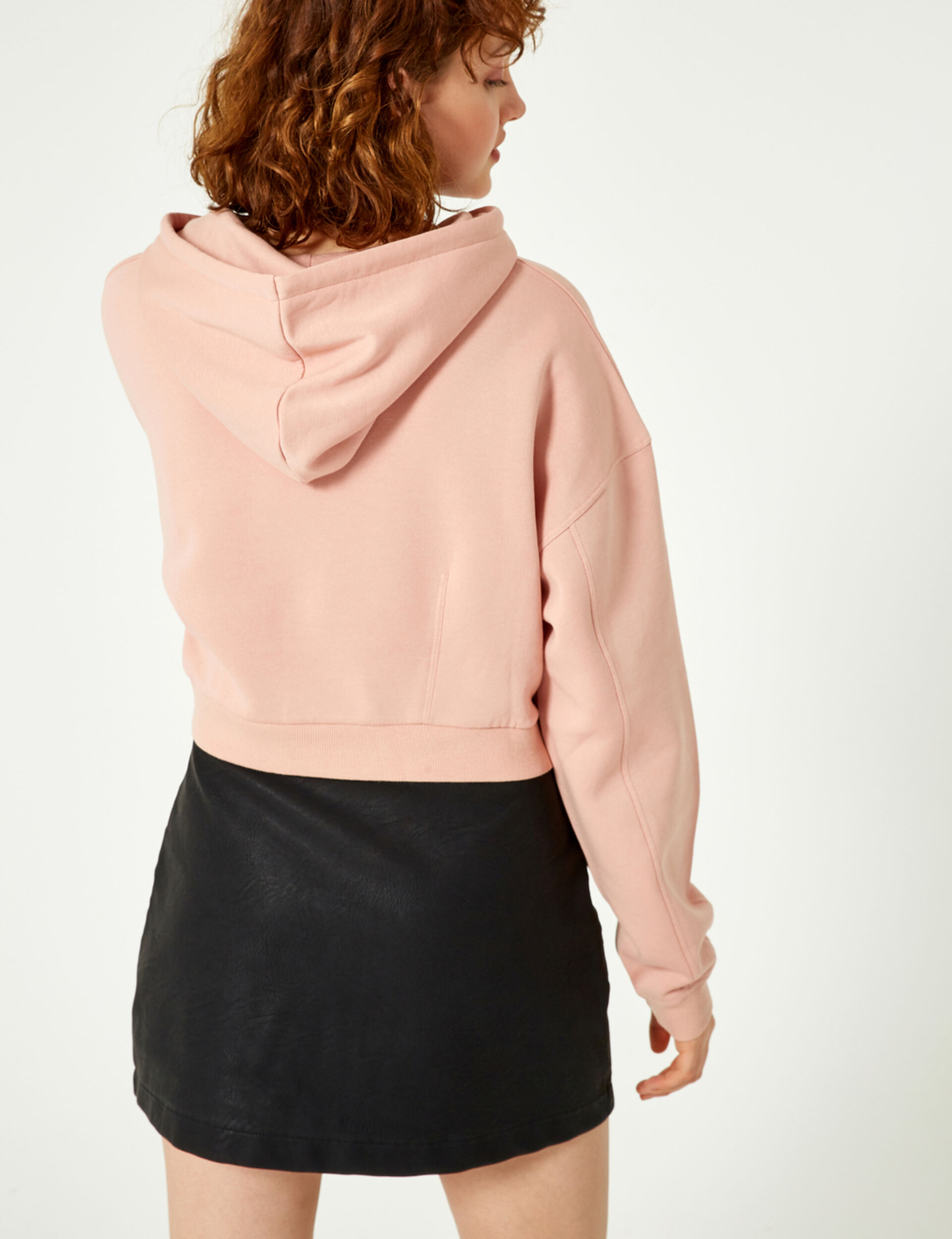 Cropped light pink hoodie