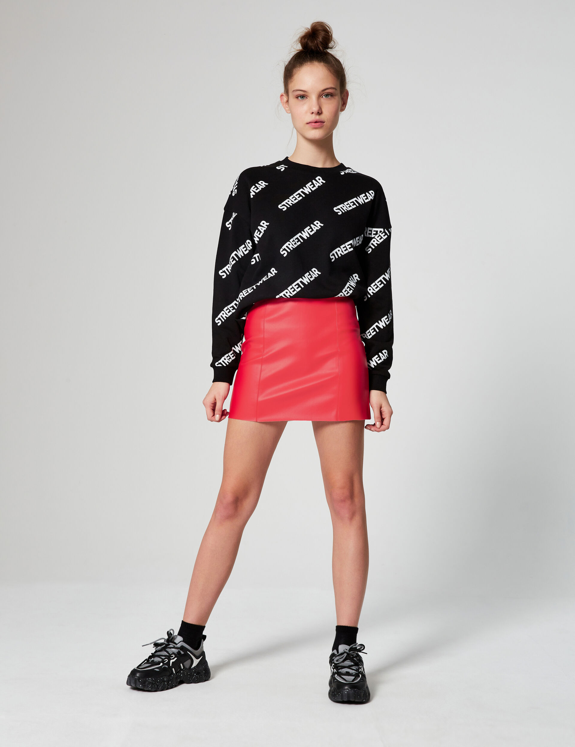 Imitation-leather miniskirt