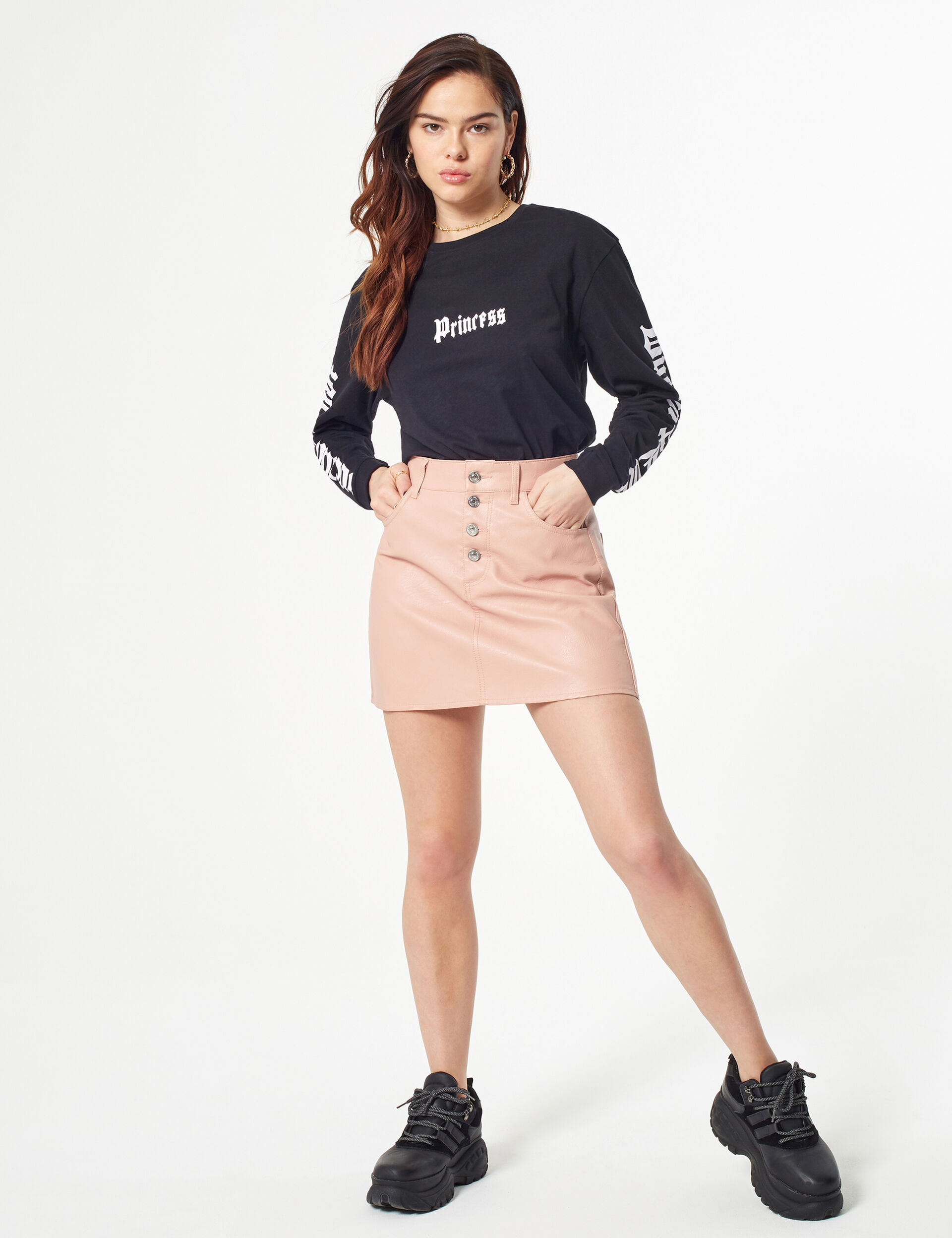 Faux leather skirt with button detail