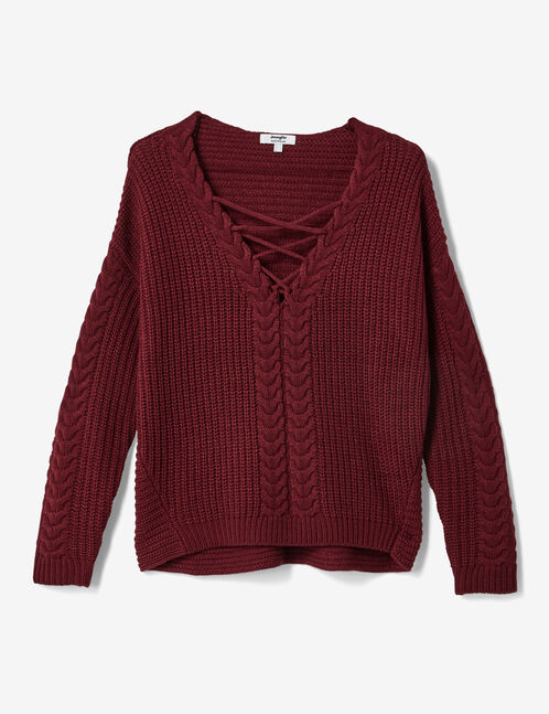 Burgundy jumper with lacing detail