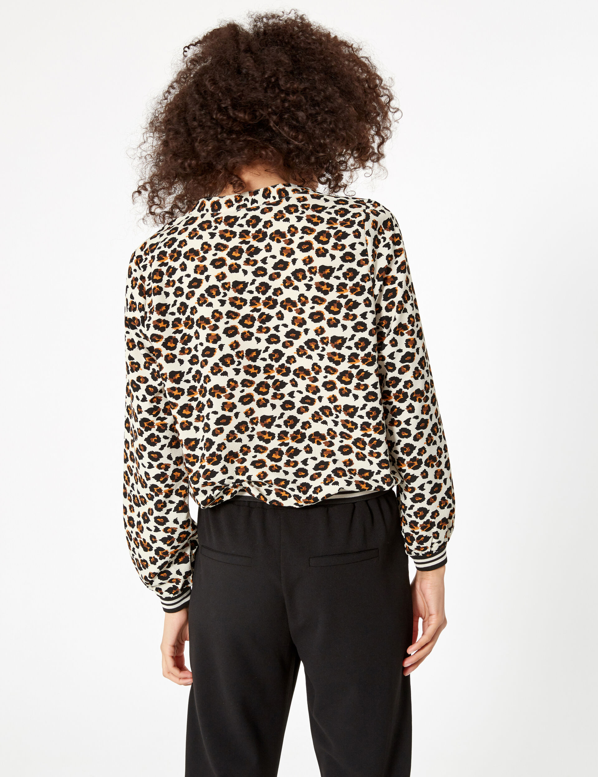 Camel, black and white leopard print blouse