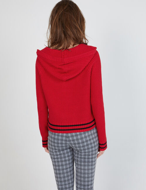 Red hoodie with lacing detail