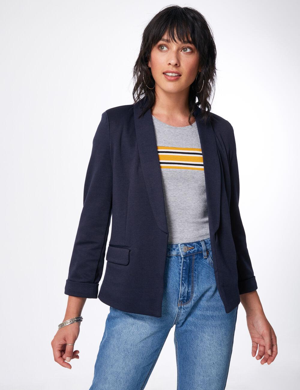 blazer manches 3 4 bleu marine femme jennyfer. Black Bedroom Furniture Sets. Home Design Ideas