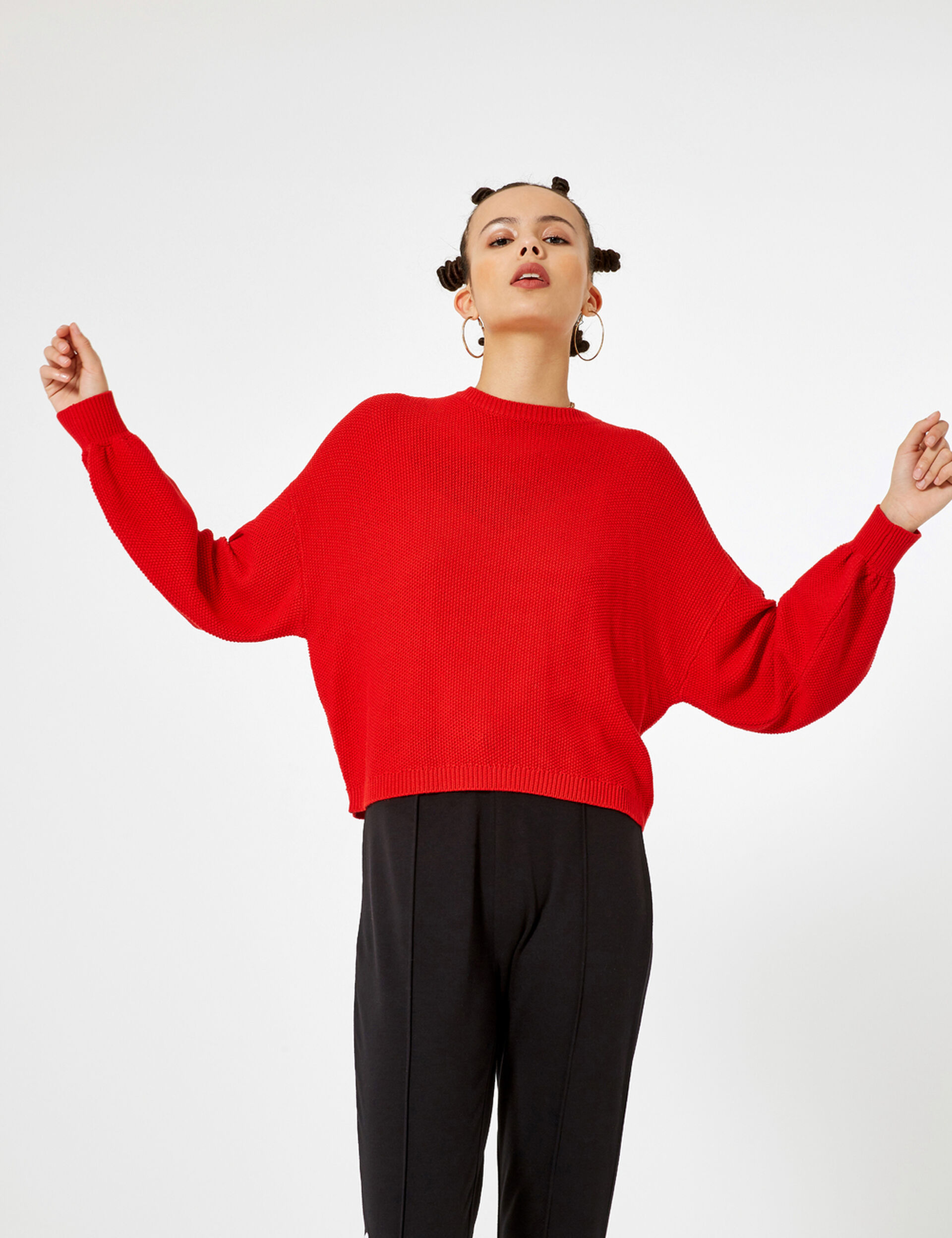 Red textured loose-fit jumper