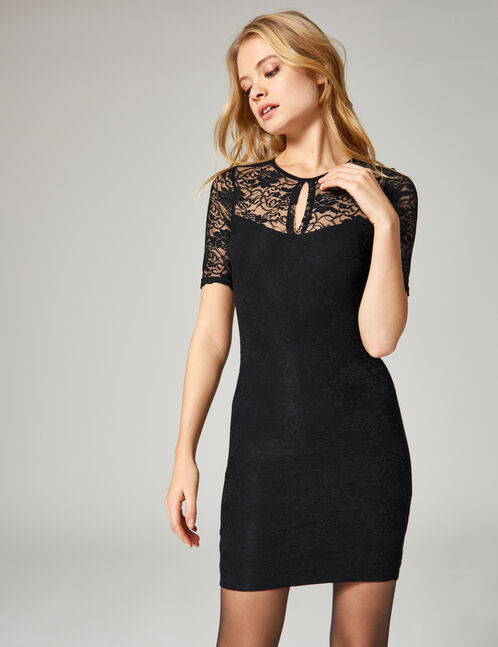 Black open-back lace dress