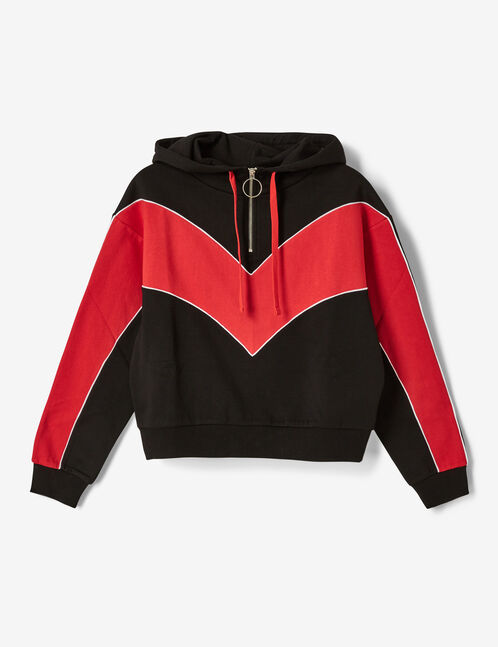 Black, red and white zipped hoodie with chevron detail