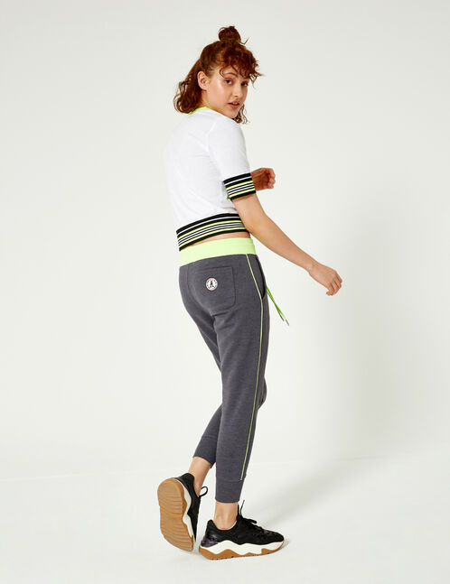 Charcoal grey and neon green joggers with trim detail