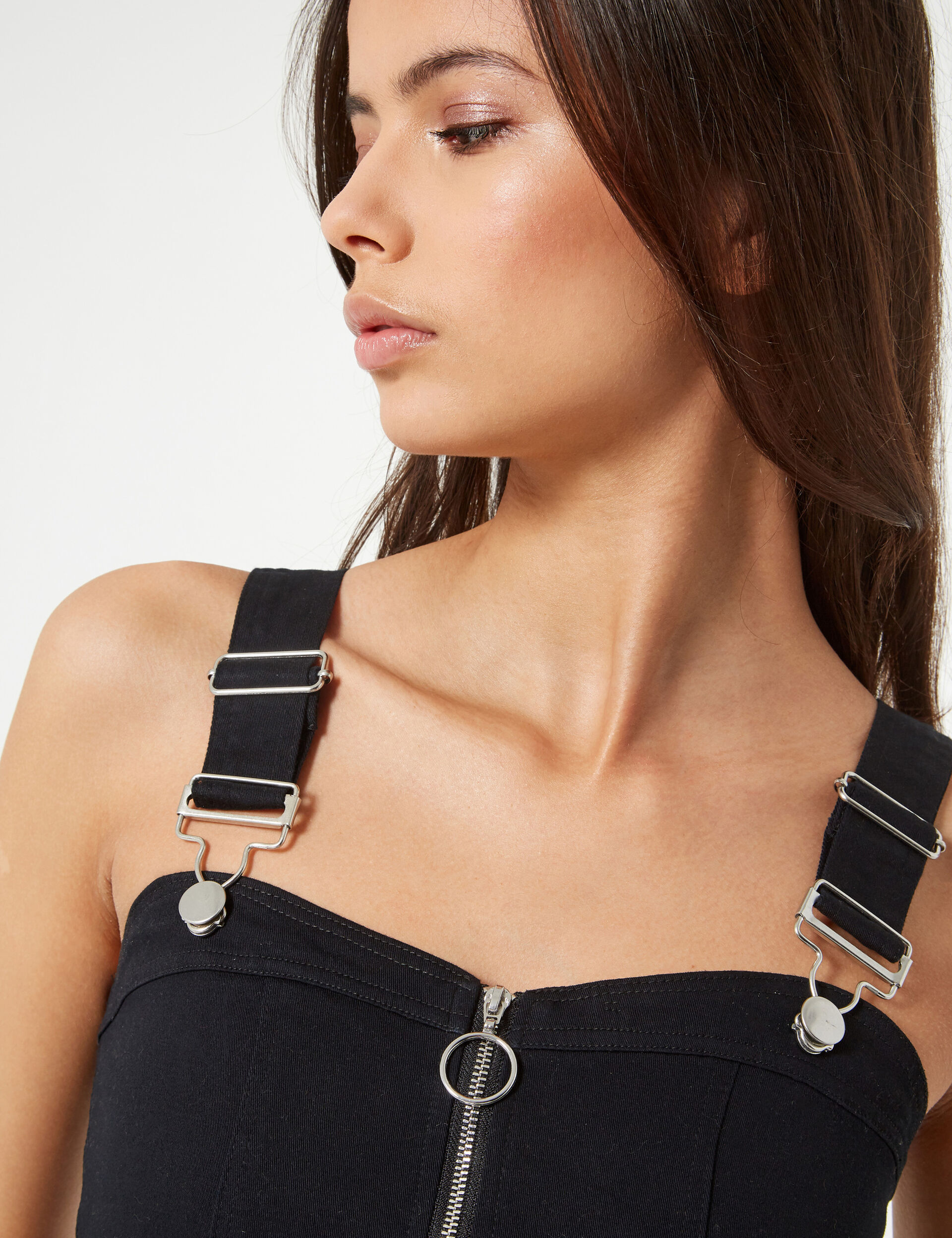 Crop top zippé à bretelles