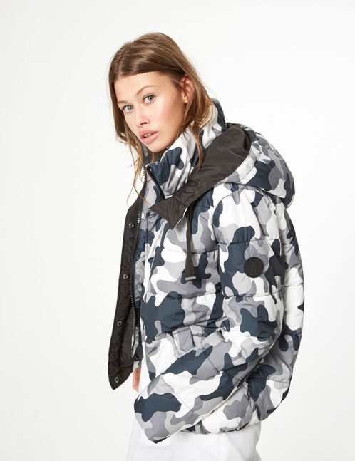 Cropped khaki camouflage padded jacket