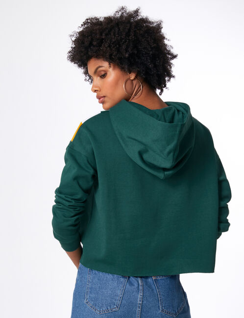 """Green, yellow and white """"influencer"""" hoodie with chevron detail"""