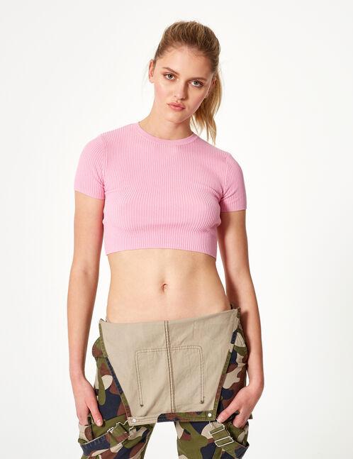Cropped pink short-sleeved jumper