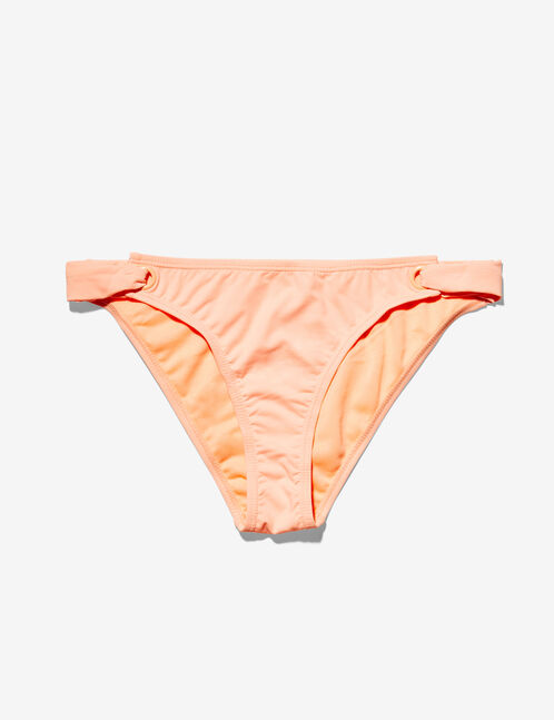 Coral bikini briefs with eyelet detail