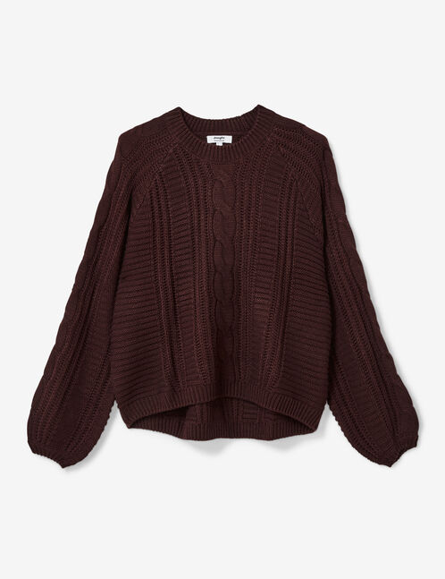 pull maille texturée prune