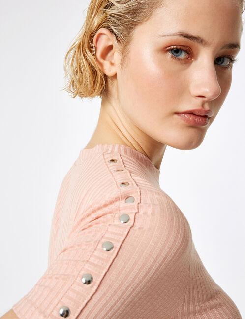 tee-shirt avec pressions rose clair