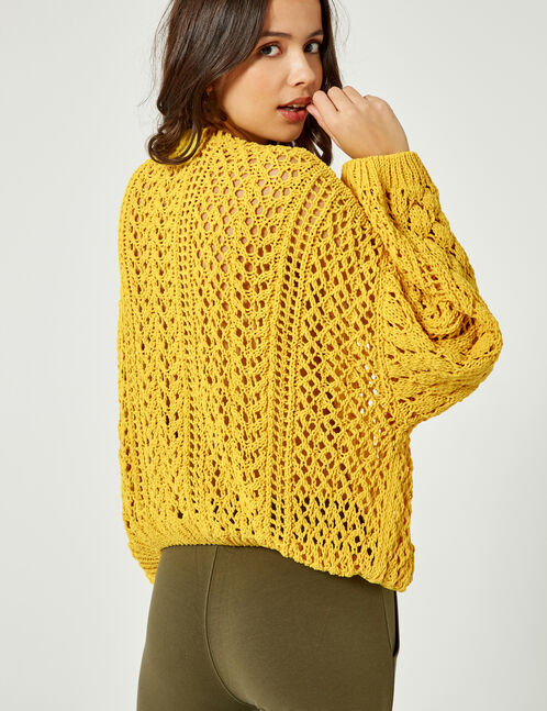 Loose-fit pale yellow openwork jumper