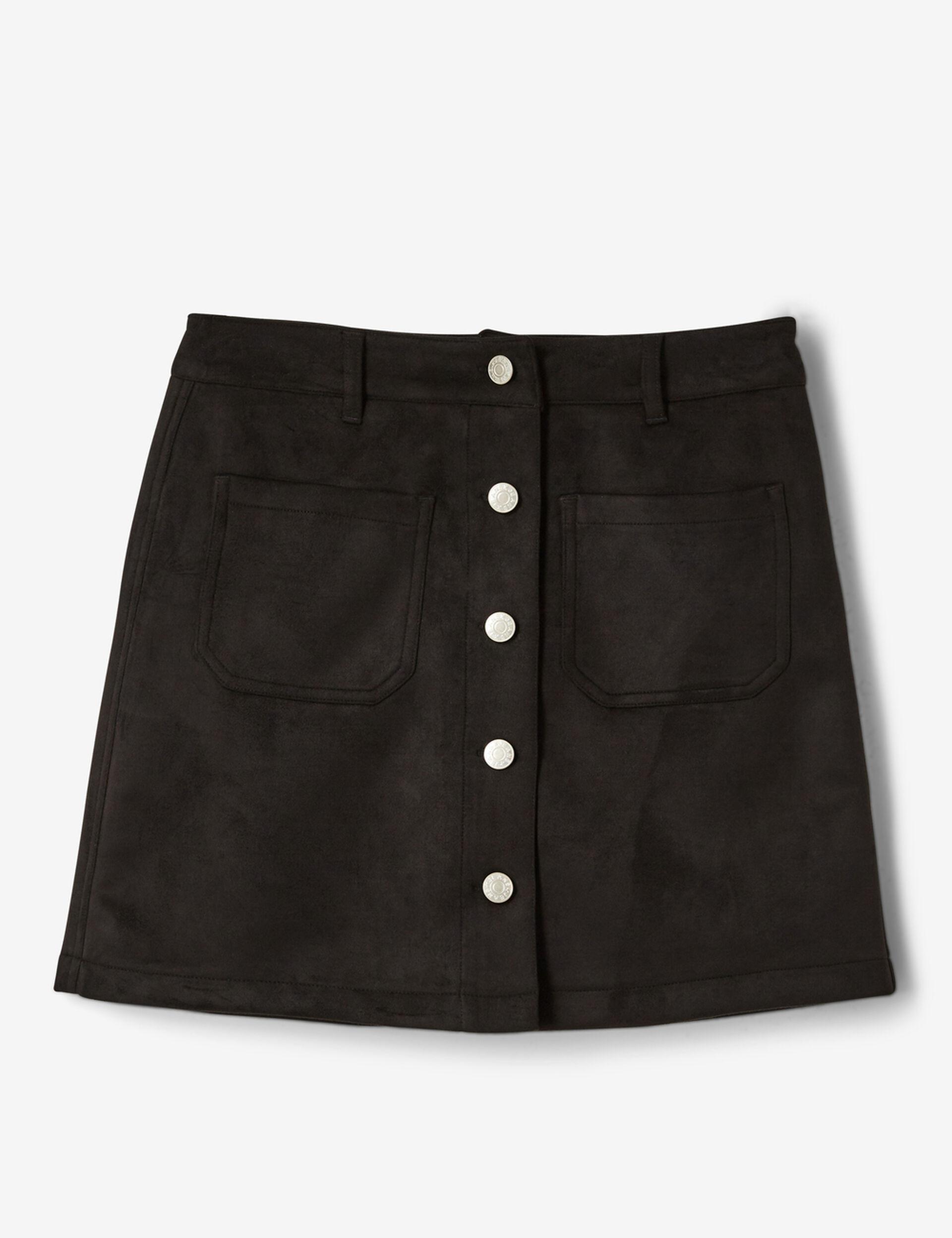 jupe suédine boutonnée noire