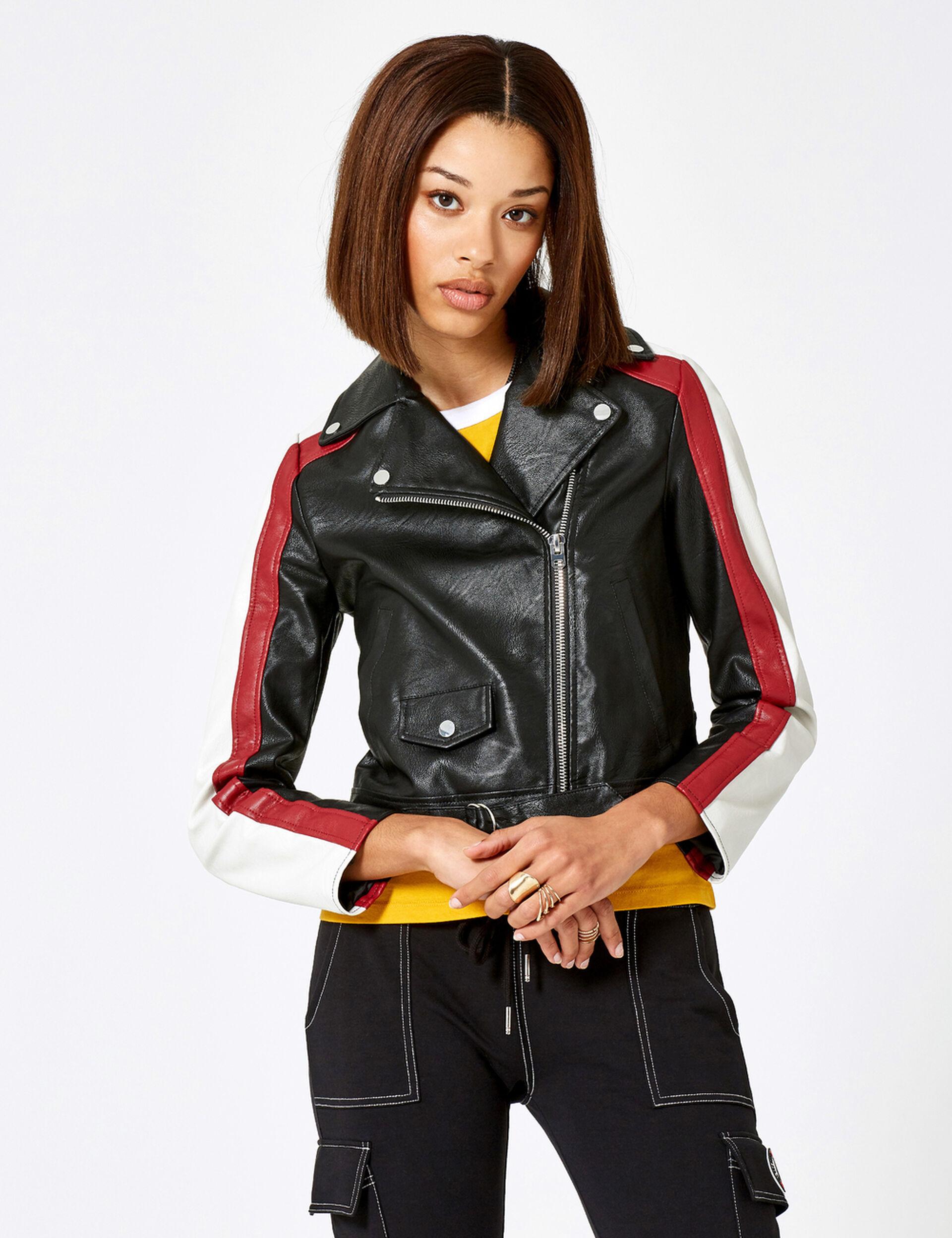 Veste biker tricolore noire, bordeaux et écrue