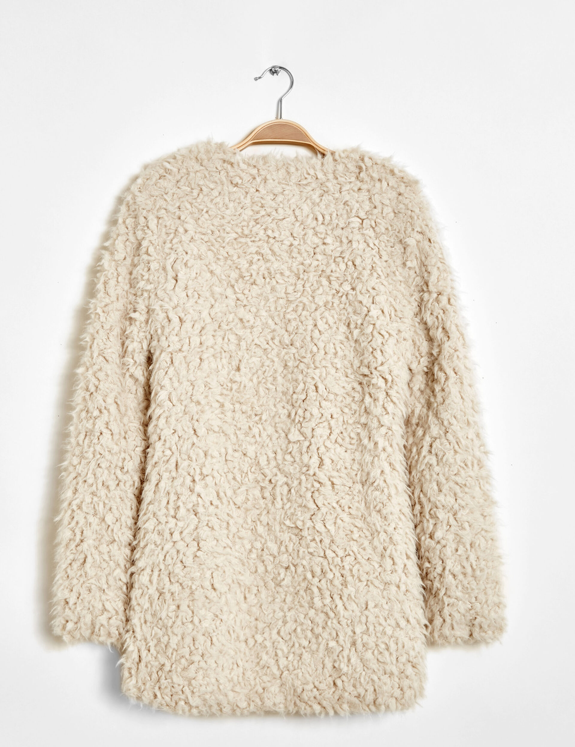 manteau fausse fourrure écru