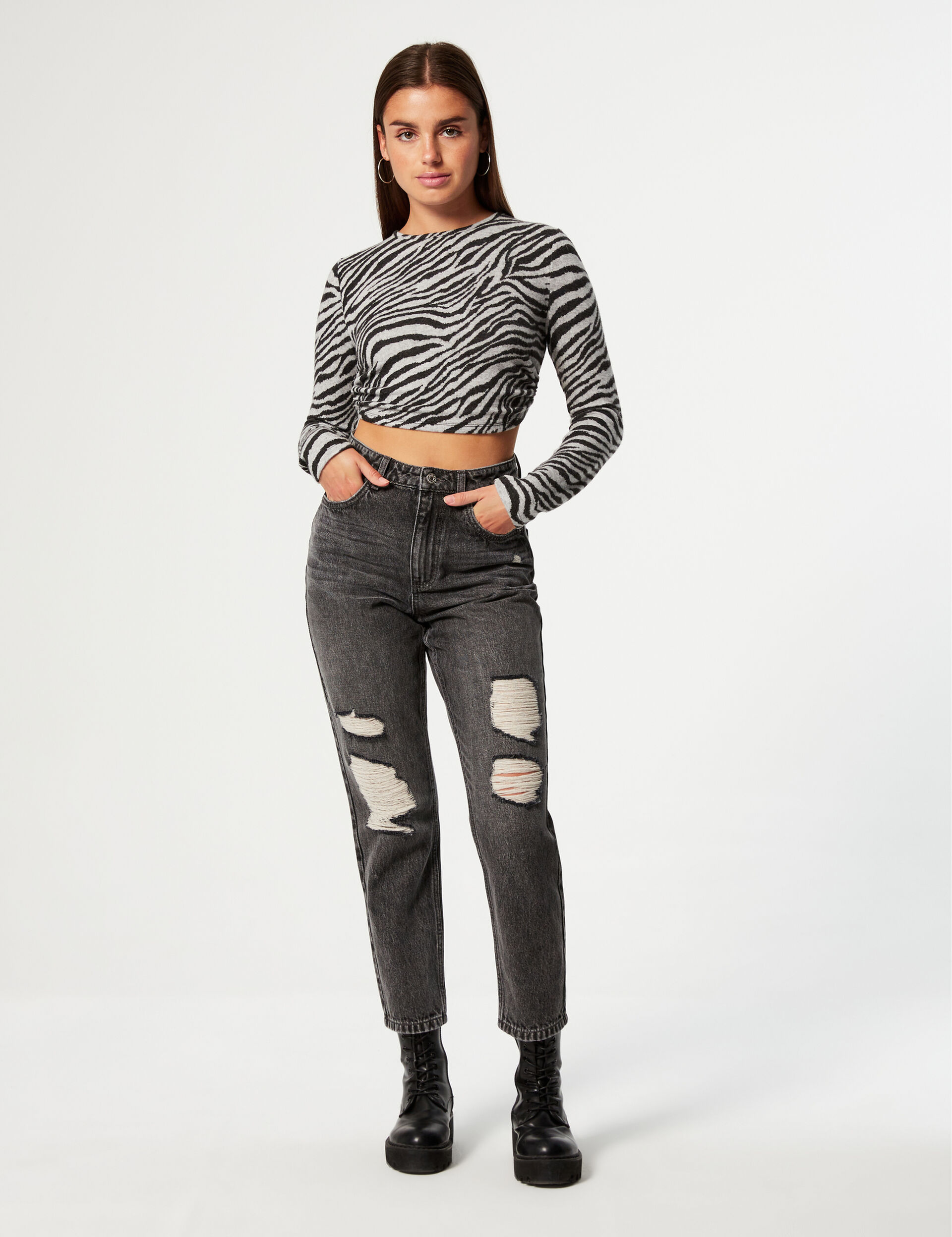 High-waisted distressed mom jeans