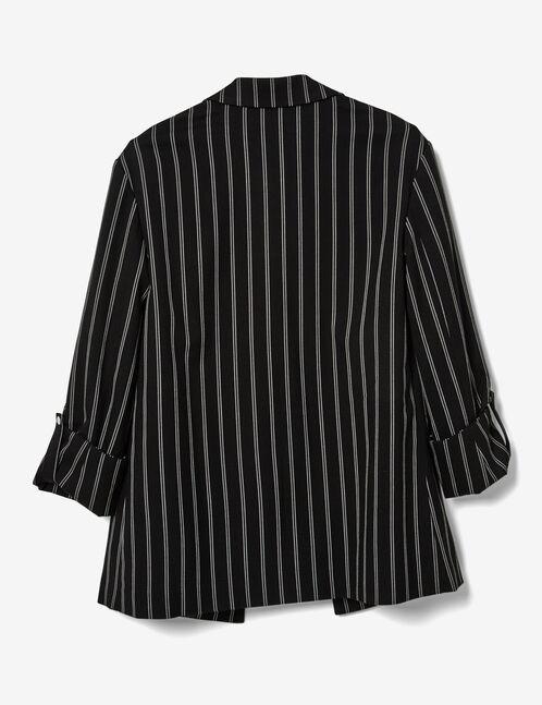 blazer long rayé noir et écru