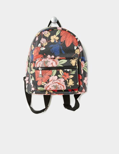 sac à dos fleuri noir