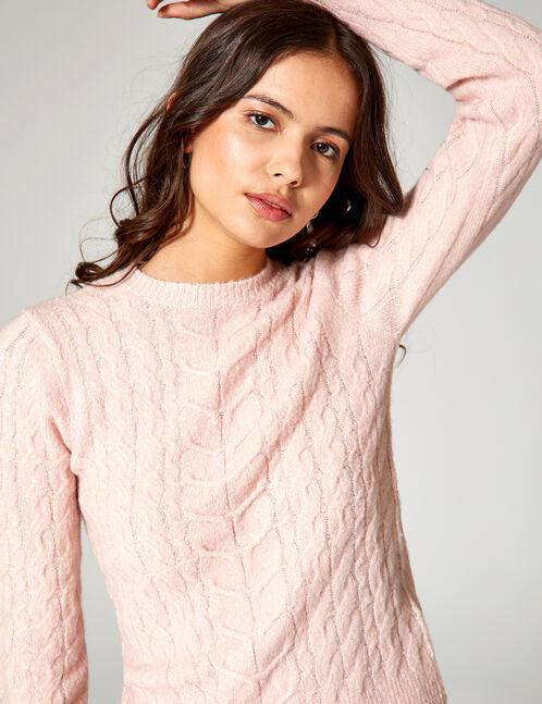 Light pink braided knit jumper