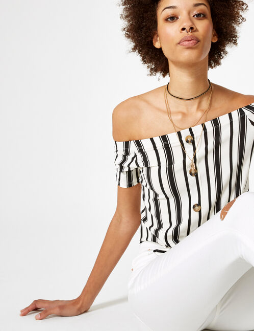 Cream and black off-the-shoulder top