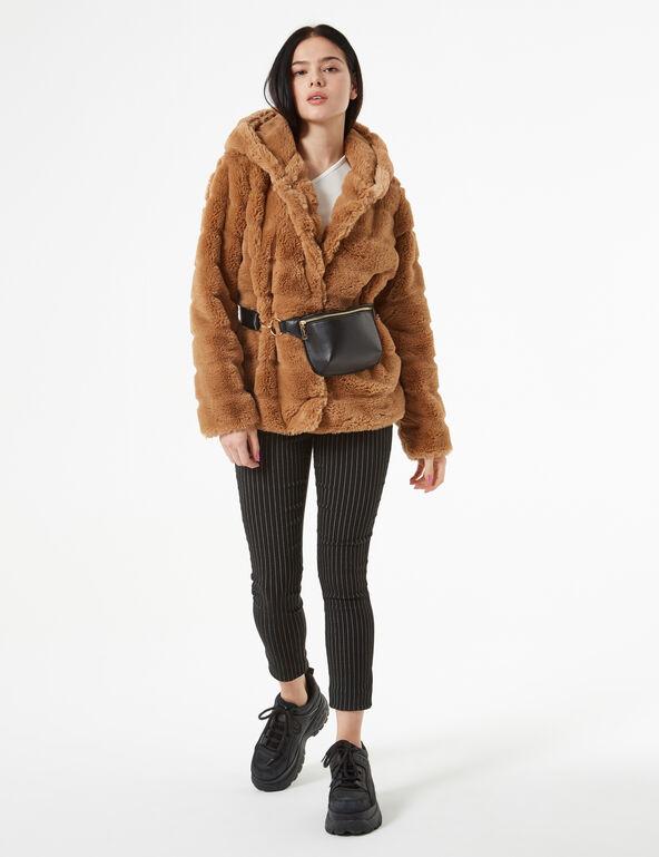 Veste à capuche imitation fourrure
