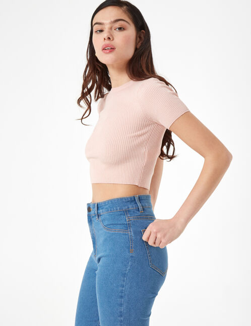 Blue high-waisted crop jeggings
