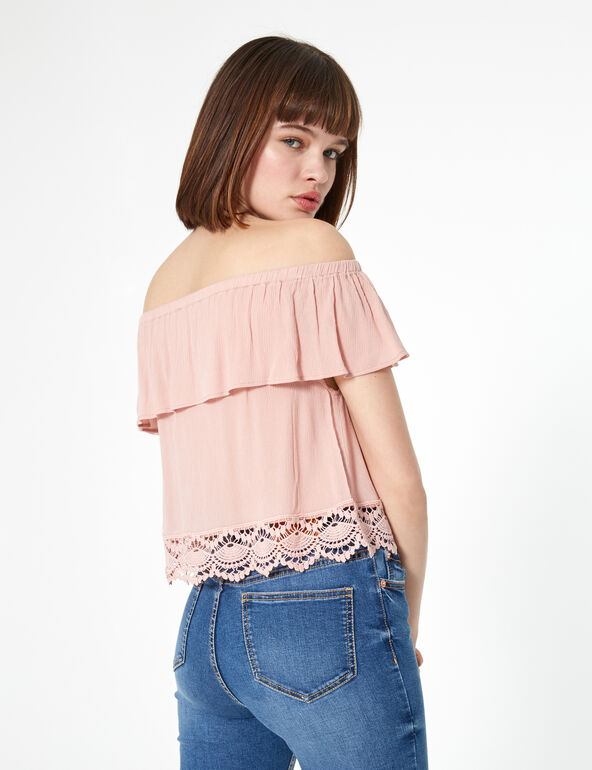 Pale pink blouse with frill detail