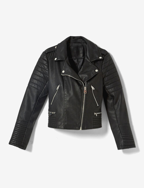 Black biker jacket with quilted detail