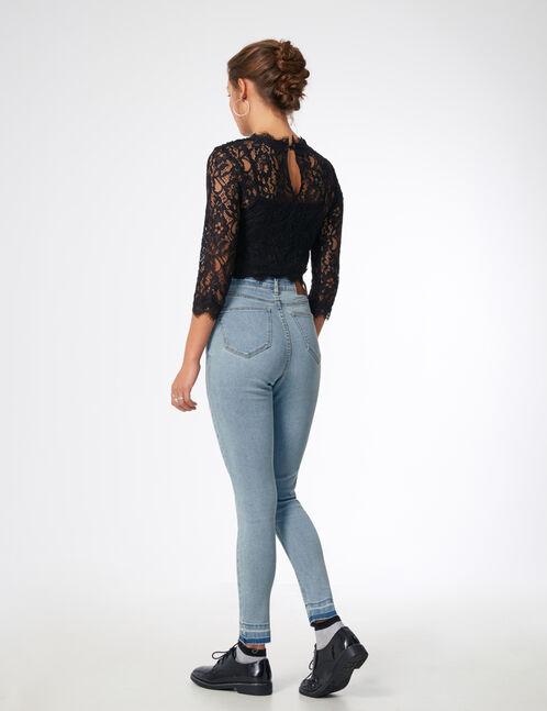 Light blue high-waisted jeans