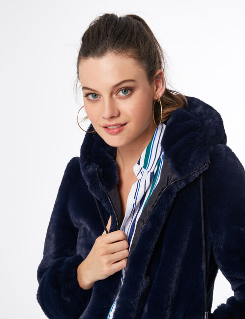 manteau imitation fourrure bleu marine