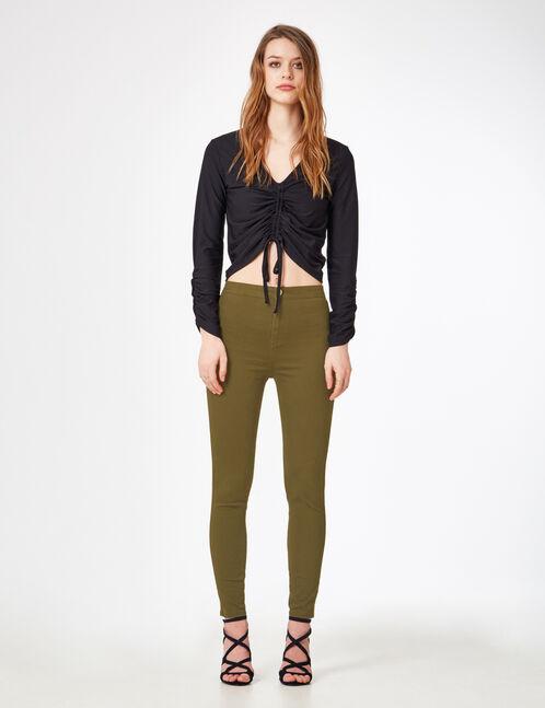 Khaki high-waisted trousers