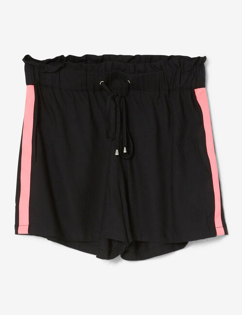 short avec bandes noir et rose fluo