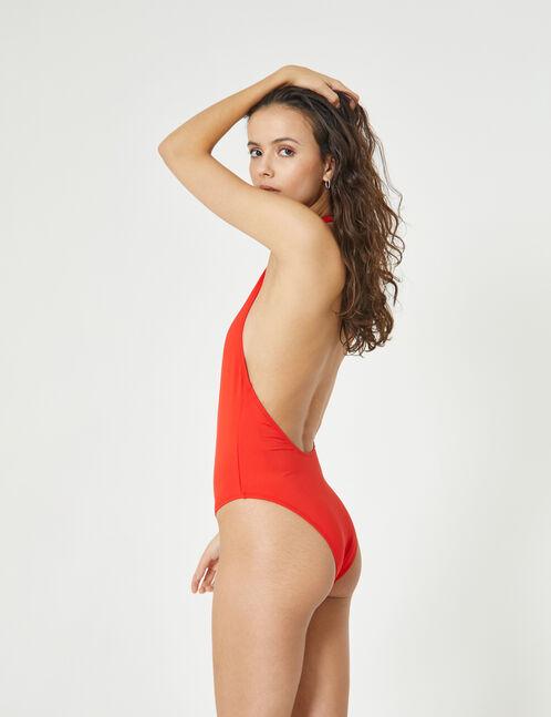 maillot de bain zippé rouge