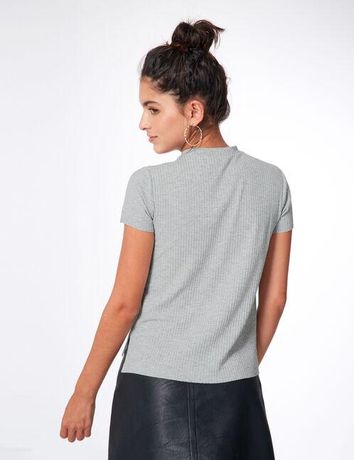 tee-shirt avec strass gris chiné