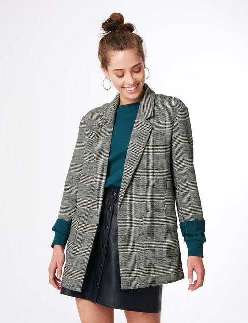 Black, white and green glen check blazer