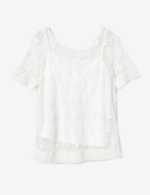 Cream top with lace overlay detail