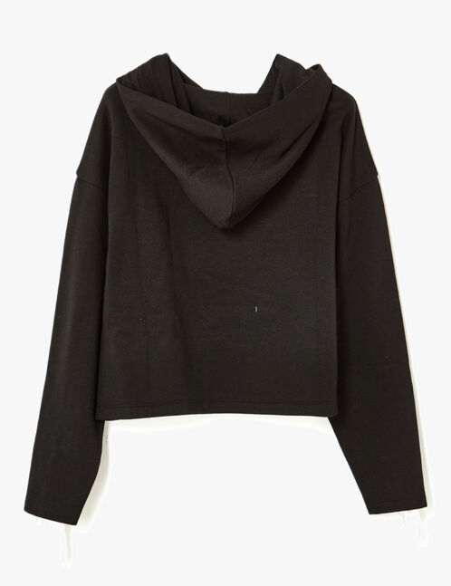 Black hoodie with sleeve lacing detail