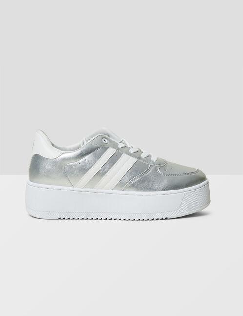 Silver platform sole trainers