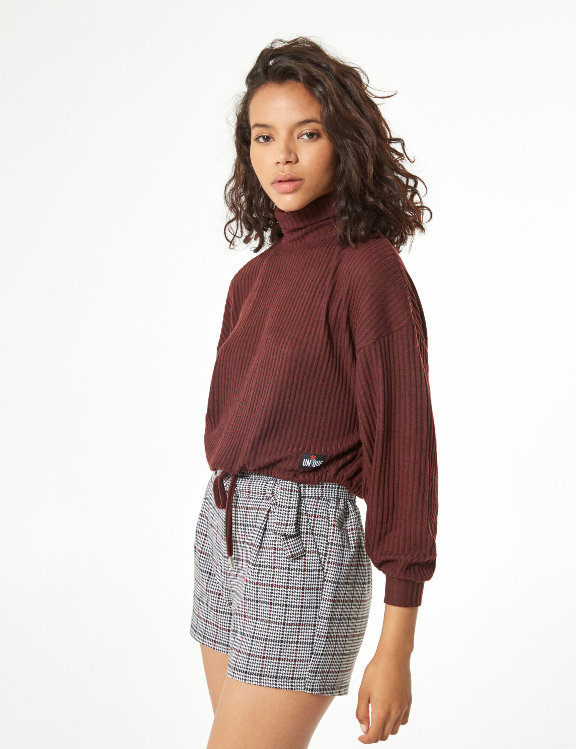 Mixed fabric knit jumper
