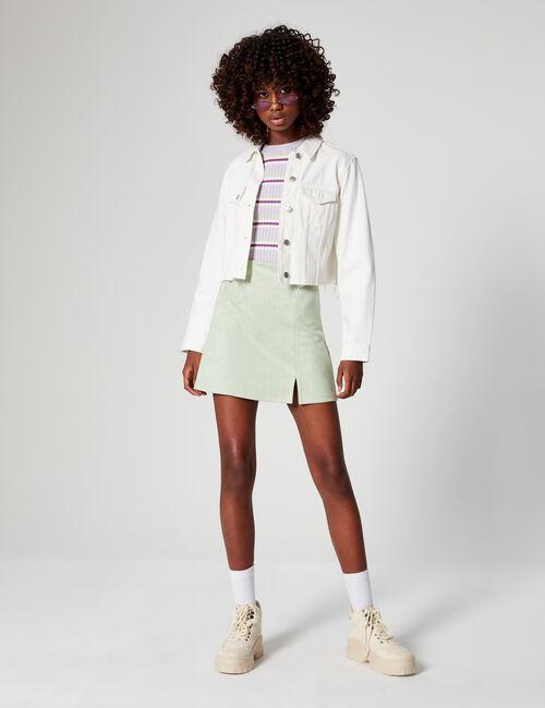 Imitation-suede A-line skirt