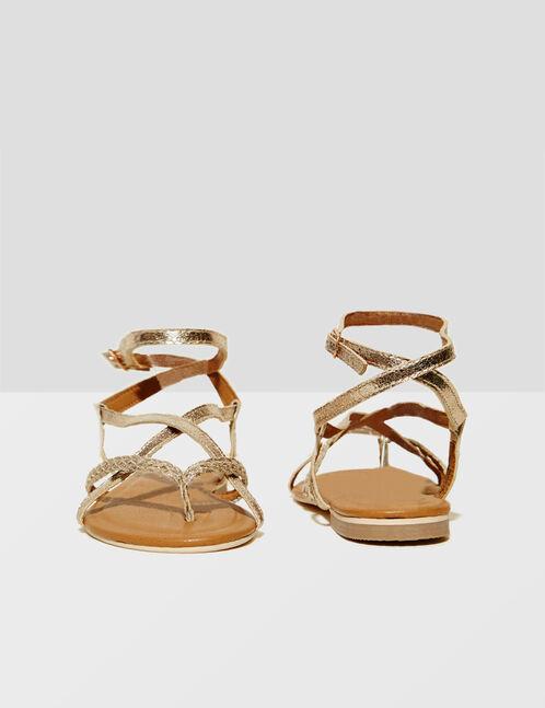 sandales plates dorées