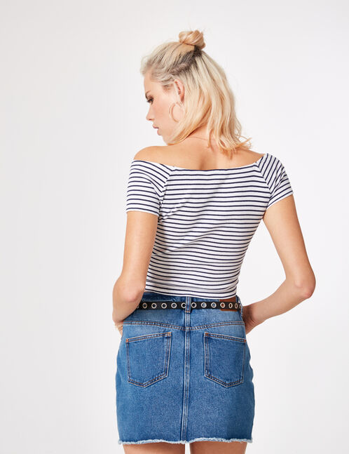 Navy blue and white striped crop top